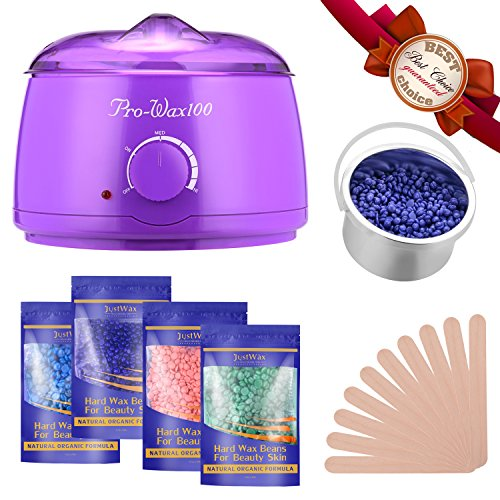 FITNATE Wax Warmer Hair Removal Waxing Kit With 4x100g Flavors Hard Wax Beans and 10 Wax Applicator Sticks for Legs, Face, Body, Bikini Area, Stylish Electric 160℉ - 240℉ Heater Control by Fitnate