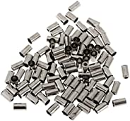 DYNWAVE Set of 100 Aluminum End Caps End Caps Sleeves Brake Cable End Sleeves 5mm