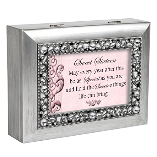 Sweet Sixteen Brushed Silver Jeweled Inlay Jewelry Music Box Plays You Light Up My - Rectangular Sweet