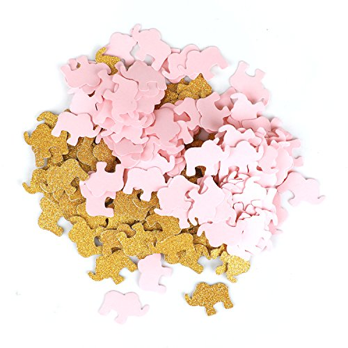 Double- Side Glitter Gold and Pink Elehant Confetti Wedding Bithday Parties Confetti 200pcs Baby Shower Decorations Table Scatters Setting -