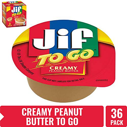 Jif To Go Natural Creamy Peanut Butter 15 oz 36 Total Cups  Convenient On the Go Pack 9g of Protein per Serving Smooth Creamy Texture  No Stir Natural Peanut Butter