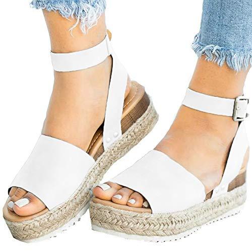 Athlefit Women's Summer Platform Sandals Espadrille Wedge Ankle Strap Studded Open Toe -