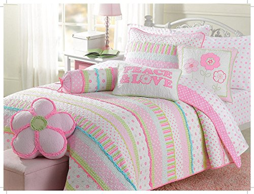 Cozy Line Home Fashions 5-Piece Pink Greta Pastel Polka Dot Floral Stripe Cotton Bedspread Bedding Set, includes 1 Quilt, 1 Shams, 3 Decorative Pillows, Christmas Gifts for Kids, Girls, Twin Size by Cozy Line Home Fashions