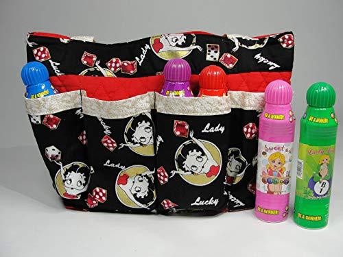 Betty Boop Red and Black Bingo Bag Handmade Fabric Purse Bag Tote Craft Organizer Teacher Tote Nurse Tote from Bonnie Adcox Creations