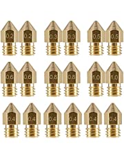 LEOWAY 18 Pcs MK8 Extruder Nozzle M6 3D Printer Extruder Brass Nozzle Print Head with 7 Different Sizes (0.2mm, 0.3mm, 0.4mm, 0.5mm, 0.6mm, 0.8mm, 1.0mm) for 1.75MM MK8 Makerbot, Anet A8 and CR-10 Printer