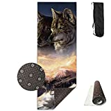 Unisex Wolf Brothers Running In The Snowy Mountains Custom Printing Yoga Mats With Carrying Bag