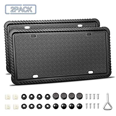 TWING Silicone License Plate Frame License Plate Holder with Mounting Accessories Rust-Proof, Rattle-Proof, Weather-Proof Universal American Auto Black License Plate Frame(2 Packs): Automotive