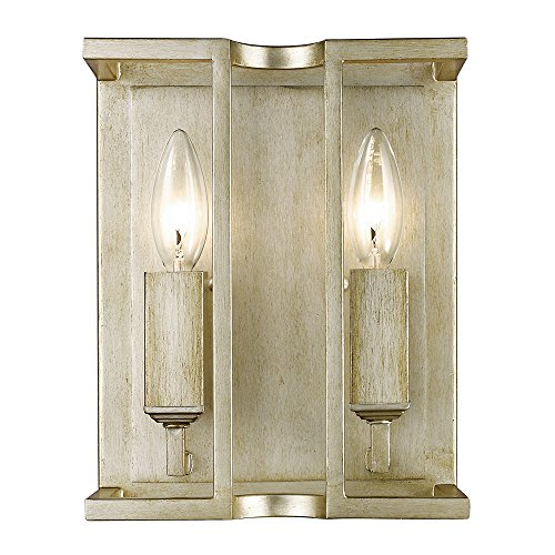 Golden Lighting 7151-WSC WG Bellare - Two Light Wall Sconce, White Gold (Butler 1 Light Sconce)