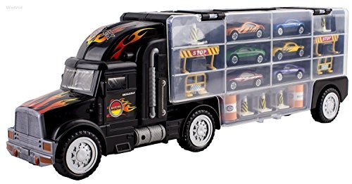 MegaToyBrand Hauler Transporter Car Carrier Truck Toy with 6 Cars Inside, 28 slots & Highway Accessories (Walmart Boy Toys)