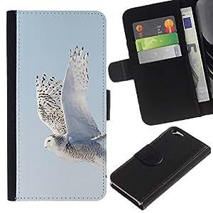 Planetar® Modelo colorido cuero carpeta tirón caso cubierta piel Holster Funda protección Apple (4.7 inches!!!) iPhone 6 / 6S ( Wings Flying Grey Winter Snow Hawk )