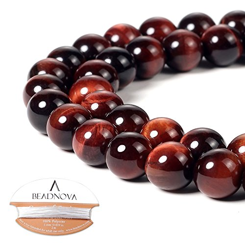 (BEADNOVA 10mm Red Tiger Eye Gemstone Round Loose Beads for Jewelry Making (38-40pcs))