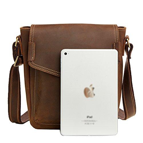 Genda 2Archer Sacchetto di Spalla Genuino Dell'annata Borsa iPad Borsa a Tracolla (21cm* 9cm*25.5cm)