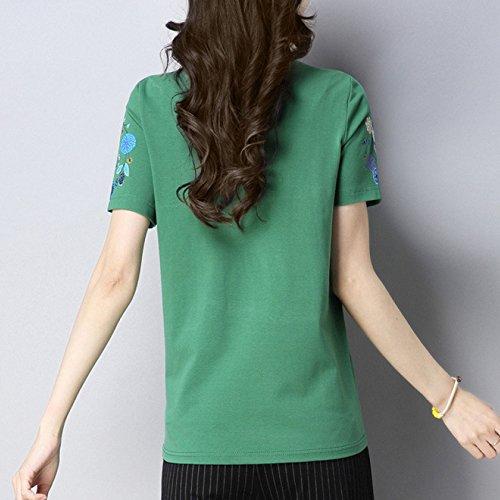 Niais Cortocircuito Redondo Clásicas Cuello La Green Chino Las Manga Señoras Camisetas Estilo Clásico De Algodón Del Casuales nnr4Tv5q8