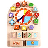 iPlay, iLearn Sorting Clock Wooden Shape Sorting Clock Educational Toy for Preschool & Toddlers
