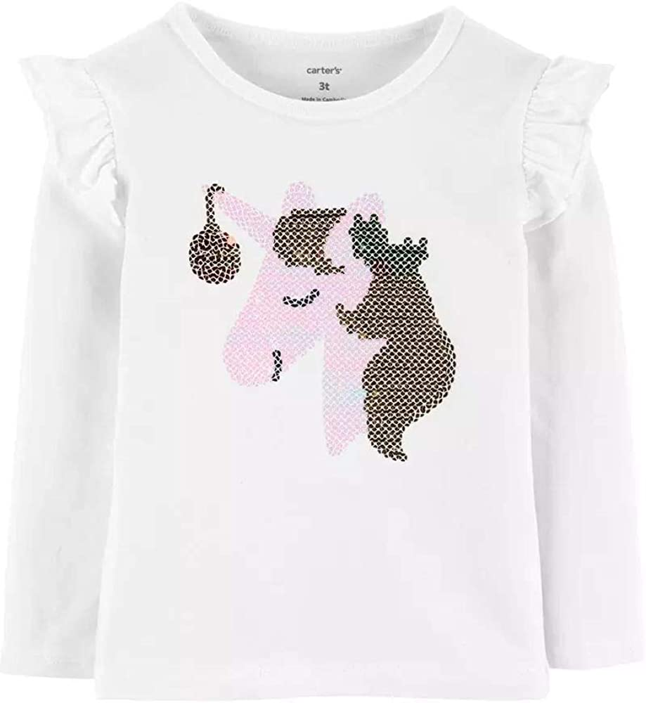Carter's Holiday Sparkly Sequin Unicorn Long Sleeve Cotton Tee 3T White