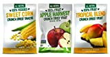 Sensible Foods All-Natural Gluten Free Vegan Non-GMO Crunch Dried Snacks 3 Flavor 9 Bag Variety Bundle: (3) Apple Harvest Fruit, (3) Sweet Corn, and (3) Tropical Blend Fruit, .32-.42 Oz. Ea. (9 Bags)