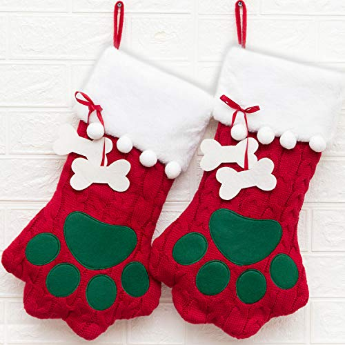 CHERPET Christmas Dog Stocking Hanger – Red Cute Personalised Cable Knitted Large Dogs Paw Stockings with Bone Holiday Party Gift Accessories for Puppy/Cats/Kittens/Small Annimals