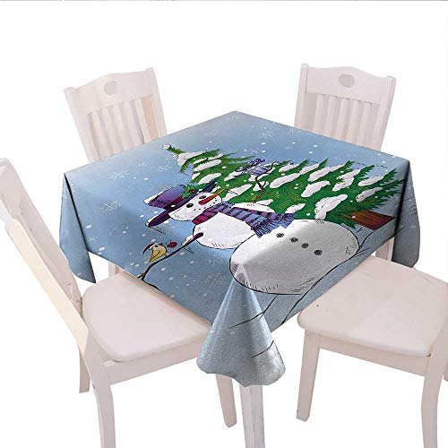 haommhome Christmas Linen Tablecloth Snowman in The Winter with Mistletoe Present Top Hat and Scarf Tree and Bird Camping Tablecloth 60