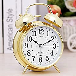 4 Pastoral Style Metal Bell Bedroom Desk Table Alarm Clock Desk Clock,Gold MEJ-001
