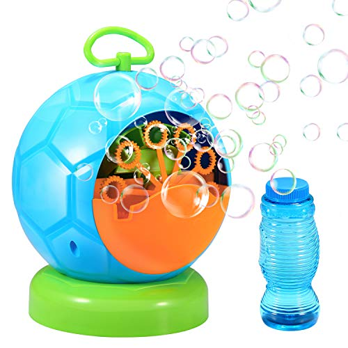 Geekper 06 Bubble Machine Automatic Blower Durable Maker with 1 Bottles of Solution Refill Over 500 Colorful Per Min Use, Green (No Spill Bubble Machine)