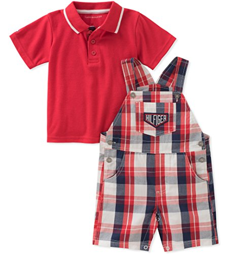 Tommy Hilfiger 2 Piece - Tommy Hilfiger Baby Boys 2 Pieces Shortall, Red/Navy, 3-6 Months