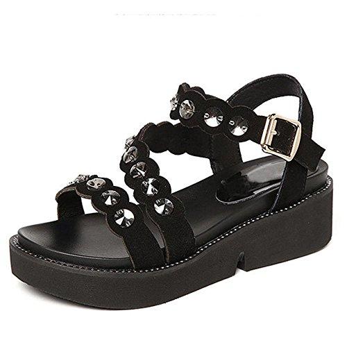 Sandalias de diamantes de verano Señora expuesta Toes Roman Sandals Black