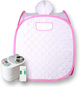 Smartmak Portable Sauna Kit, one Person Full Body at Home Spa Hat Tent, Include 2L Steamer with Remote Control for Detox & Weight Loss US Plug- Pink Border