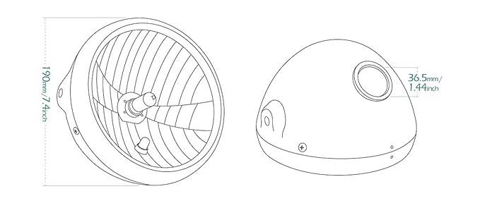 Sirius 7 Inch Round Motorbike Headlight With Black Housing Ece