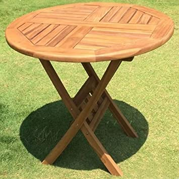 Gartentisch holz rund  Amazon.de: Gartentisch Holz Teak rund Ø 80 cm