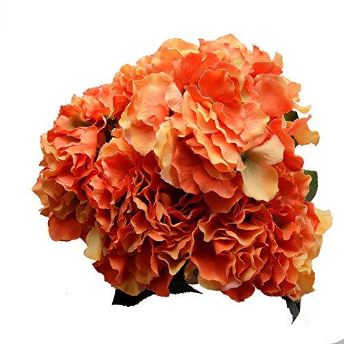 Derker Silk Artificial Hydrangea Bouquet 5 Big Heads Hydrangea Flowers Arrangement Home Wedding Centerpieces Decoration (Orange)