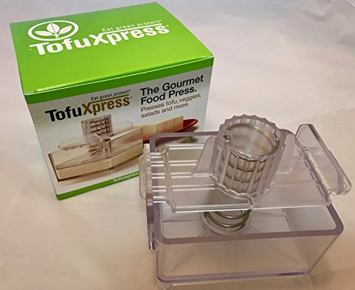 Gourmet Tofu Press / Marinating Dish - Clear. TofuXpress removes moisture from tofu and other foods automatically without mess.