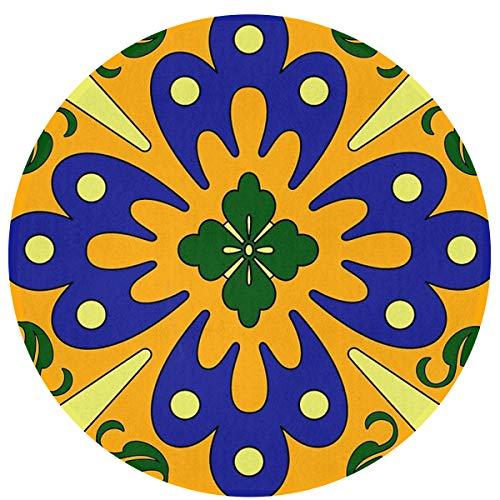 "Architd Personality Orange and Blue Talavera Tile Pattern Carpet, Suitable for Bathroom Carpet Doorway Carpet, 23.6""x 23.6"" Inch Floor Mat"