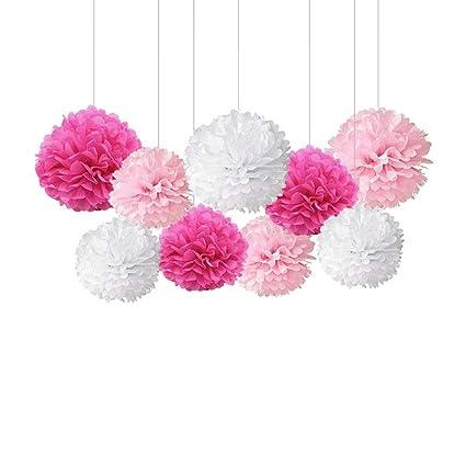 Amazon Toyandona 9pcs Tissue Hanging Paper Pom Poms Flower Ball