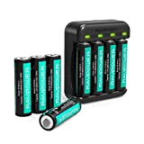 Rechargeable AA Batteries RAVPower 8 Pack 2600mAh High Capacity Ni-MH Battery Pack with 4 Charging Slot AA AAA Battery Charger