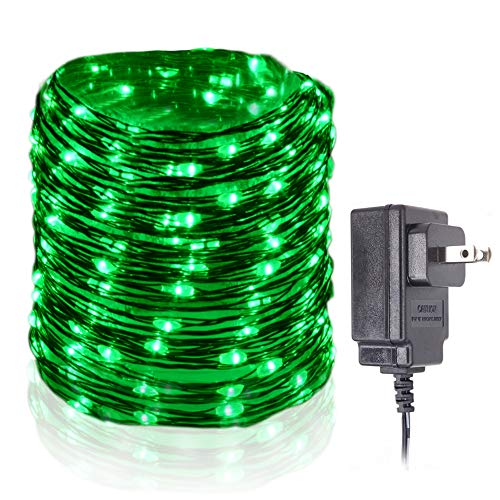 HAHOME Waterproof Led String Lights,33Ft 100 LEDs Indoor and Outdoor Starry Lights with Power Supply for Christmas Wedding and Party Decoration,Green (Emerald Green Rope)