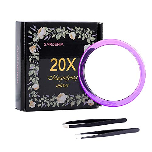 (20X Magnifying Mirror &Slant Tip and Pointed Eyebrow Tweezer Set,Perfect for Precise Makeup Application for Facial Hair, Ingrown Hair,Splinter, Blackhead and Tick Remover. (Purple))