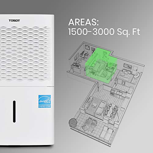 TOSOT 3,000 Sq. Ft. 50 Pint Dehumidifier - Energy Star, Quiet, Portable with Wheels, and Continuous Gravity Drain - Efficiently Removes Moisture for Home, Basement, Bedroom or Bathroom