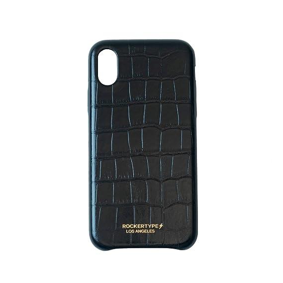 los angeles 362e5 e4d8c ROCKERTYPE Luxury iPhone X Case Crocodile Leather (Black)