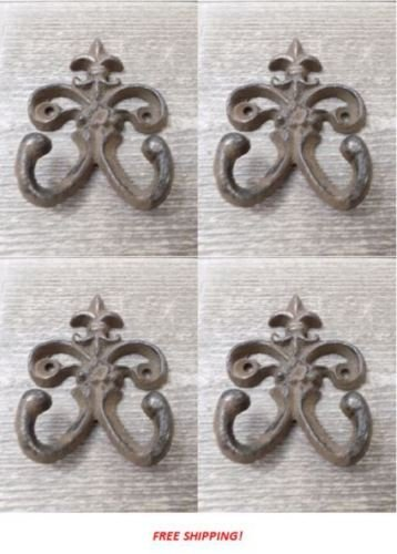- OutletBestSelling Beautiful Decoration 4 Cast Iron Fleur de Lis Rustic Weathered Double Wall Hook Rustic Vintage Look
