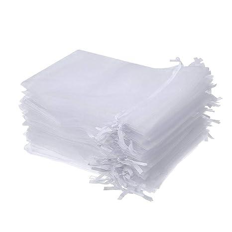 Bolsas blanco del Organza del lazo del regalo del banquete de boda durable bolsos del favor de joyería reutilizable semitransparente bolsas 50Pcs