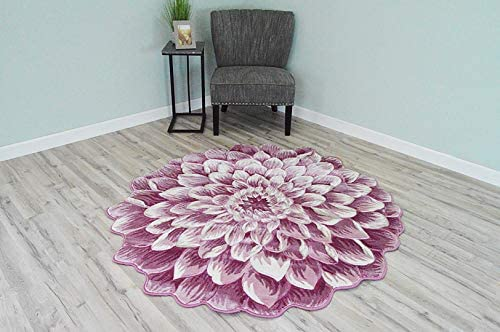 Flowers 3D Effect Hand Carved Thick Artistic Floral Flower Rose Botanical Shape Area Rug Design 303 Pink 6 6 x6 6 Round