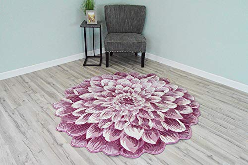 (Flowers 3D Effect Hand Carved Thick Artistic Floral Flower Rose Botanical Shape Area Rug Design 303 Pink 5'3''x5'3'' Round)
