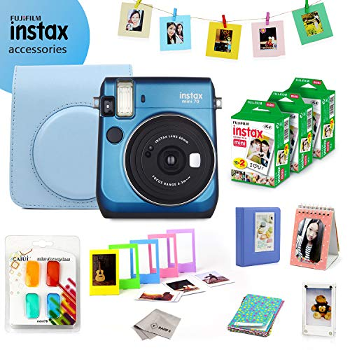 Fujifilm Instax Mini 70 Bundle (Blue) - Fuji Camera Instant Film (60 Sheets) + 9-in-1 Accessory Bundle - Carry Case, 4 Color Filters, 2 Photo Albums, Assorted Frames & Much More