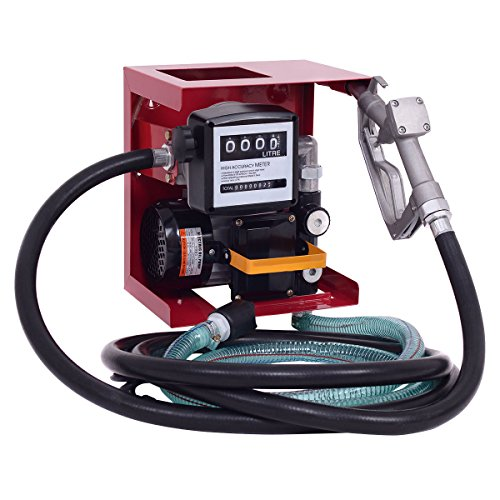 Goplus 110V Electric Diesel Oil Fuel Transfer Pump w/ Meter +13' Hose & Nozzle - Diesel Transfer Pump