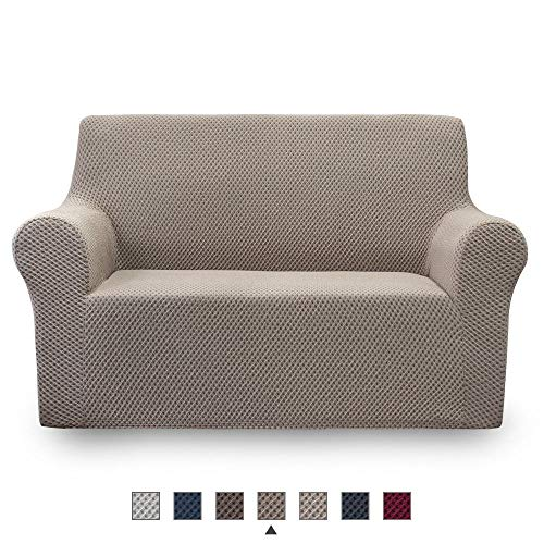NICEEC Loveseat Slipcover Khaki Loveseat Full Cover Two-Tone 1 Piece Easy Fitted Sofa Couch Cover Universal High Stretch Durable Furniture Protector Love Seat Country Style (2 Seater Khaki) (Style Country Loveseats)