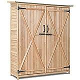 Goplus Outdoor Storage Shed Lockable Wooden Storage Unit Tilt Roof Fir Wood Cabinet for Garden Yard