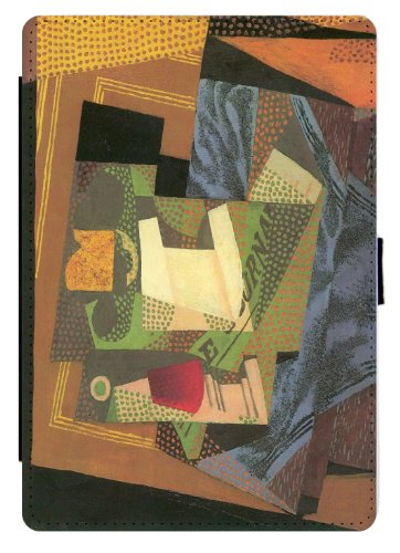 Fruit Bowl Panel (Rikki Knight Juan Gris Art Fruit Bowl on Table Cloth Design Black Snap Protective Slim-Fit Shell Case with pu Leather Faux Suede for Apple iPad Mini)