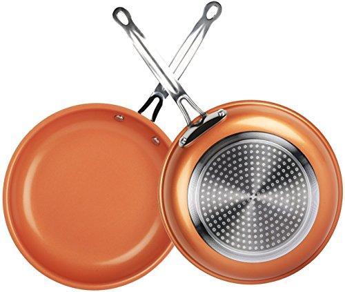 【Non Stick】iMounTEK [Ceramic/Aluminum/Stainless Steel] Anti Scratch Round Copper [10 INCH] Frying/Baking/Broiling Pan. Ideal for Electric/Induction/Gas Stoves. PTFE/PFOA/PFOS Free! Oven Safe!