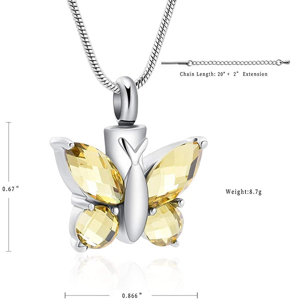 HAMANY Butterfly Urn Necklace Memorial Ashes Keepsake for Love Forever Ashes Necklace Urn Jewelry for Ashes