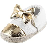 Fheaven Baby Girls Bowknot Soft Sole Shoe Soft Shoes Flats Shoes (12-18Month, White)